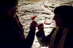 Tasting in the cellars at Château Corton André