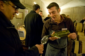 Mounir Saouma, Trappist monk turned winemaker, gets his ration of Corton Charlemagne at the Hospices new cellars near the modern hospital in Beaune