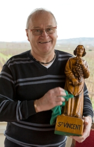 Jean-Claude Chevalier prepares Aloxe-Corton's statue of St Vincent for his big day