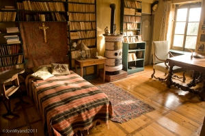 Jacques Copeau's bedroom, kept as it was during his lifetime. The vineyards of Charlemagne can be seen from his window.