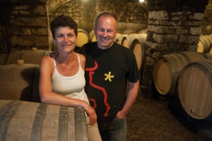 Alix and Etienne in the white wine cellar@ Meursault