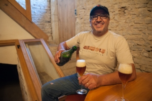 Mounir Saouma at Lucien Lemoine - the perfect host ! Its a welcome home brewed beer this time.