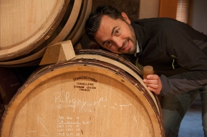 Benôit Riffault checks fermentation at Etienne Sauzet