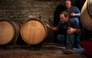 Stephane Magnien and his father line up their barrels in Morey St Denis