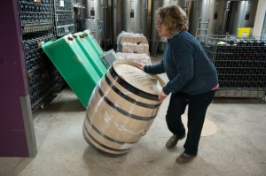 Julie Chevalier shows how to roll barrels.