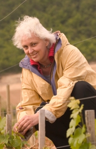 Anne-Claude Leflaive, at her happiest in the vineyards.