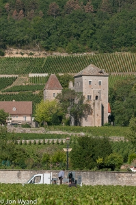 Rossignol-Trapet are busy in their Gevrey-Chambertin overlooked by the, now Chinese owned, Château