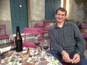 Jean-Louis Chave relaxeswith a glass of  his favourite - St Joseph !