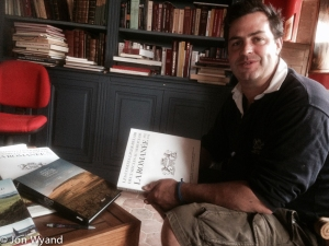 Exchanging books with Louis-Michel Liger-Belair in Vosne-Romanée