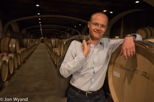 Frederick Weber,  the winemaker, in his cellars at Bouchard.
