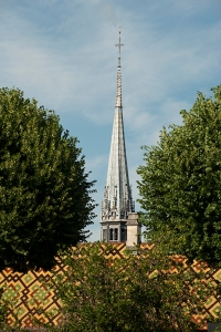 An evening view of the Hospice spire