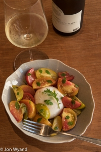 tomato and mozzarella with an Hautes Côtes de Beaune.