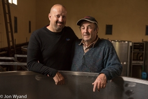 Jean-Marie and father Jean-Claude Fourrier in Gevrey. Great fun, great wine !